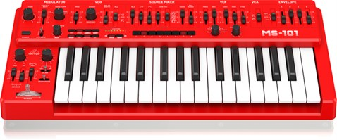 Behringer MS-101-RD Analog Synthesizer with 32 Full-Size Keys