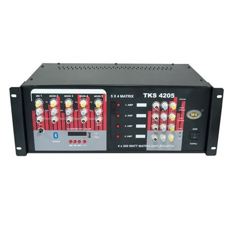 West Sound TKS 4205 USB 5x4 Matrix - 4x200 Watt Matrix Mikser